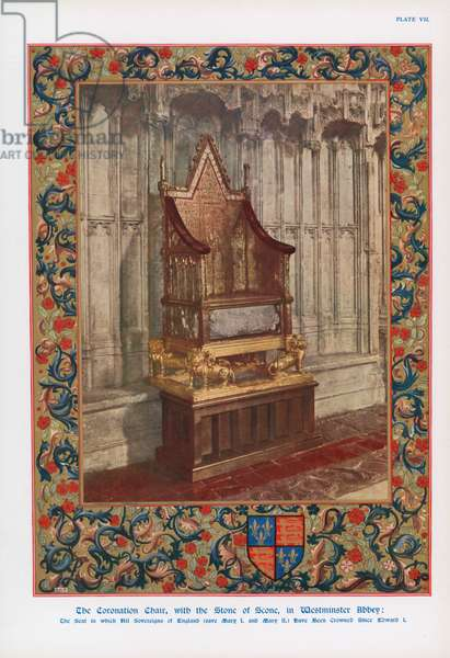 The Coronation Chair and the Stone of Scone in Westminster Abbey, London (colour litho)