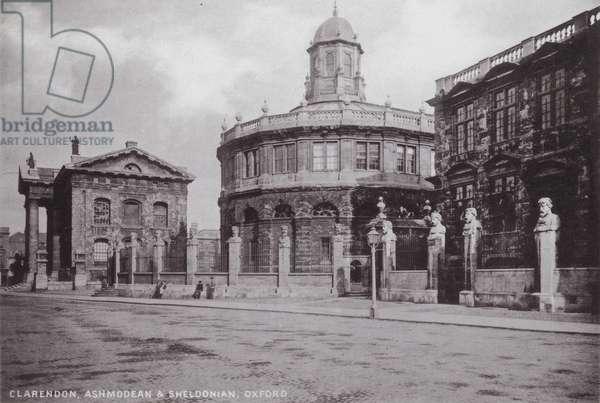 Clarendon, Ashmodean and Sheldonian, Oxford (b/w photo)