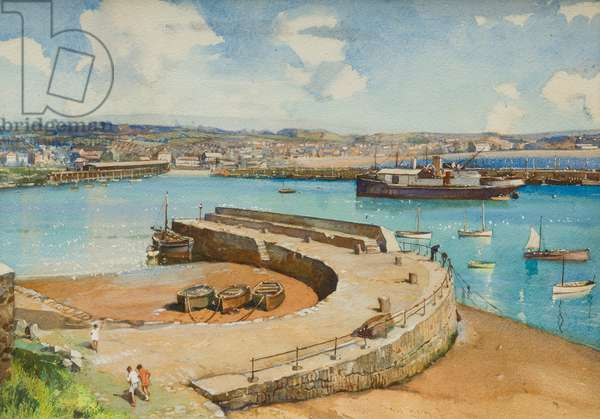 Mousehole Harbour, design for a postcard (w/c on paper)