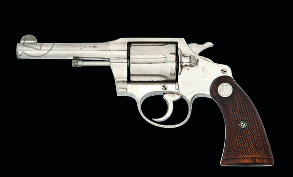 .38 (Special) 'Police Positive' six-shot double-action revolver by Colt, Hartford, 1929 (wood & nickel-plated metal)