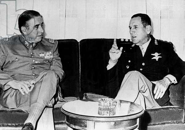 Chile Dictator Pinochet Meeting General Peron during Visit in Argentina May 21, 1974 (b/w photo)