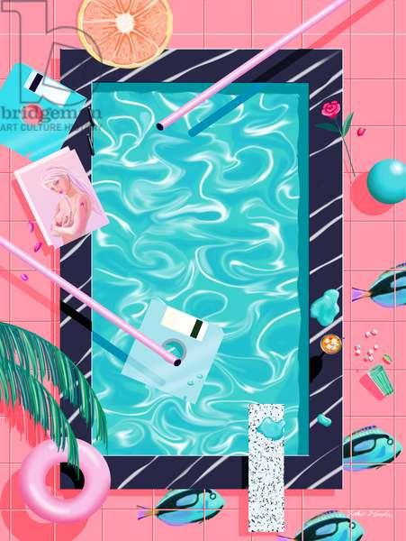 Poolside Dreaming, 2016 (digital illustration)