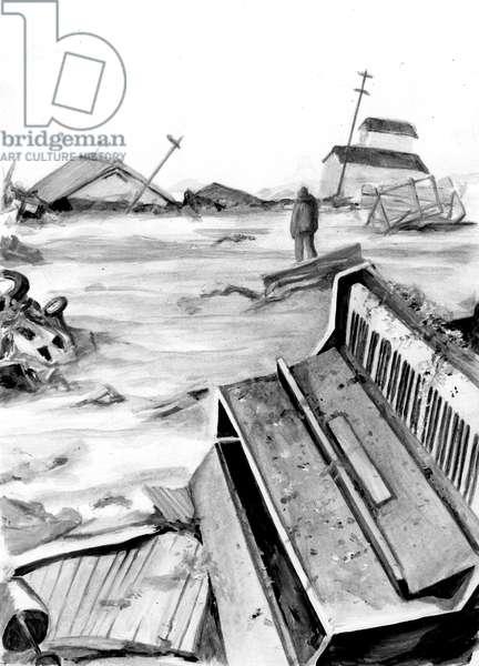 Tsunami damage, 2014, (Acrylic paint on paper)