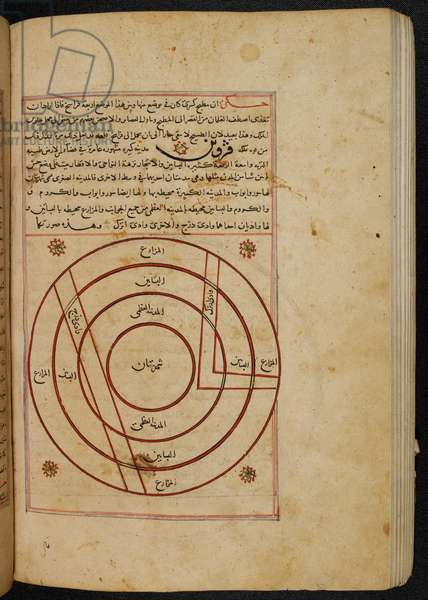 MS Or. 3623, fol. 119b Town plan of the city of Qazvin, illustration from the 'Wonders of Creation', by Zakarīyā ibn Muḥammad al-Qazwīnī (ink on paper)