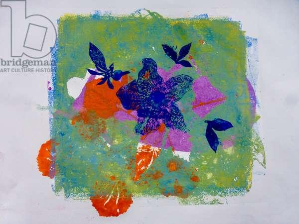 Blue flower ,2019, (monoprint on paper)
