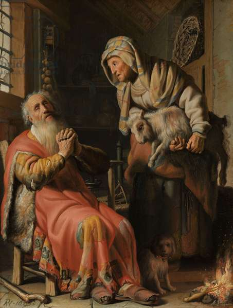 Tobit and Anna with the Kid, 1626 (oil on panel)