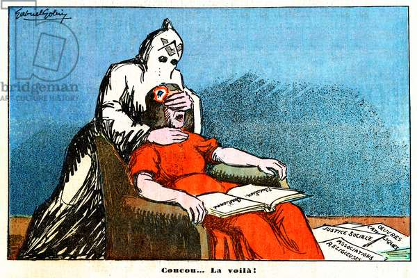 """""""Hello... here it is! """"- Marianne blinded by the free-maconnerie (caricature, 1935)"""