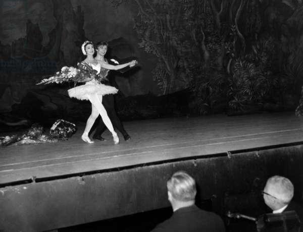 Rudolf Noureev With The Dancer Margot Fonteyn November 4, 1963 During A Representation Of The Ballet Le Lac Des Cygnes At Theatre Des Champs Elysees A Paris - Nureyev and Margot Fonteyn Performing Ballet Swan Lake in Paris November 4, 1963 in Paris (b/w photo)