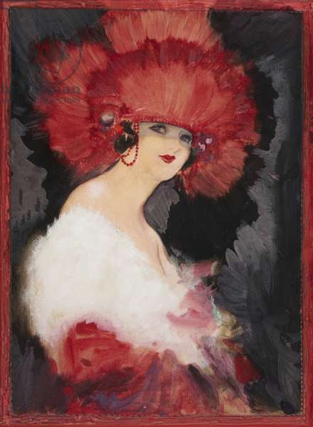 The Red Headdress, c.1920 (w/c on paper)