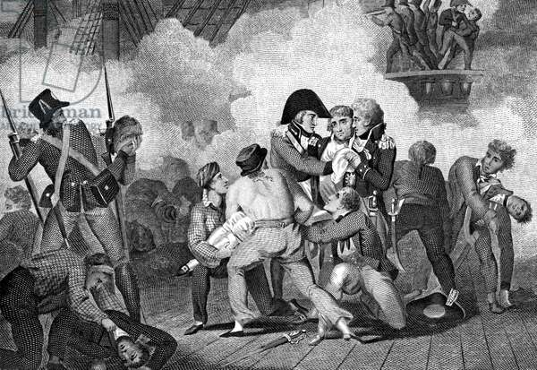Death of Nelson (1758-1805) on board 'HMS Victory' at battle of Trafalgar. Engraving 1827