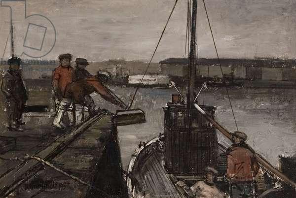 Fishermen and Boat, Arbroath, 1957 (oil on board)
