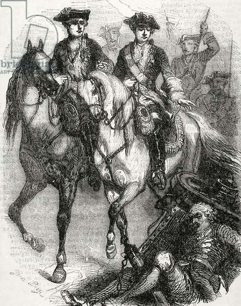 Louis XV of France (1710-1774).  King of France and Navarre. Louis XV and the Dauphin in the Battle of Fontenoy,1745. Engraving.