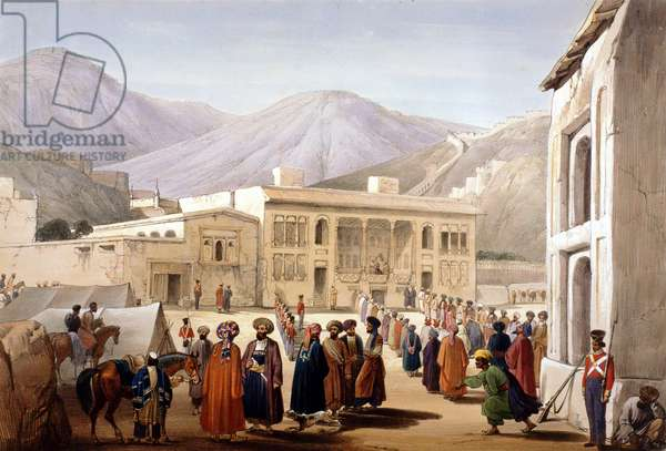 First Anglo-Afghan War 1838-1842. Shah Shujah or Shoja, puppet of British, holding a Durbar at Cabul (Kabul). From J Atkinson Sketches in Afghanistan London 1842. Hand-coloured lithograph.