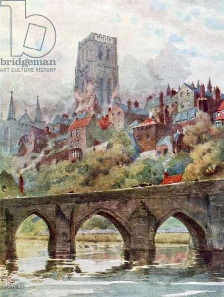 Durham, Elvet Bridge (colour litho)