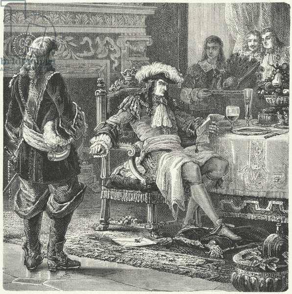 William of Orange receiving the news of the birth of the Prince of Wales, 1688 (engraving)