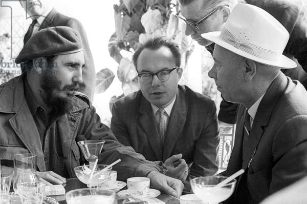 Fidel Castro And Nikolai Podgorny During A Talk In Havana