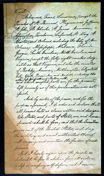 EMANCIPATION PROC., P. 3 Abraham Lincoln's holograph manuscript, 1863.
