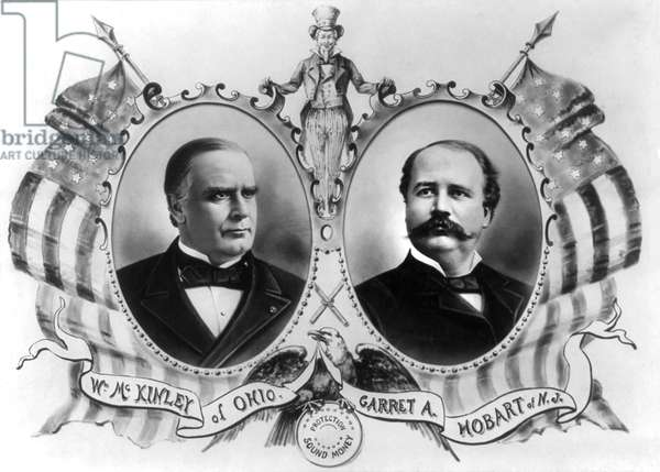 William McKinley and Garret A. Hobart, Head and Shoulders Portrait in Ovals Bordered with American Flags with Uncle Sam, Presidential Election Banner, 1896 (b/w photo)