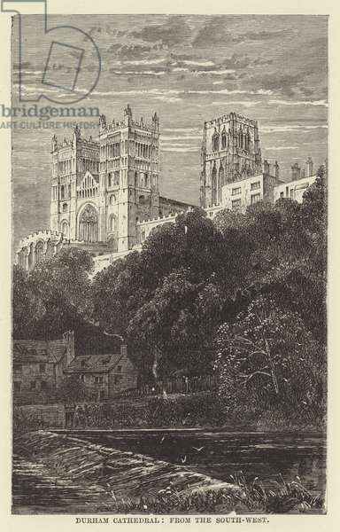 Durham Cathedral, from the south-west (engraving)