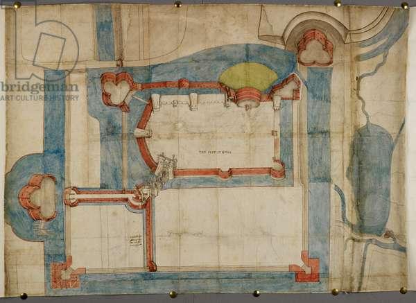 Cotton Augustus I ii 52, A coloured plan of Guînes Castle about 1540 (parchment)