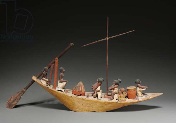 Model Boat, Late 11th to Early 12th Dynasty, 2040-1648 BC (gessoed & painted sycamore fig)