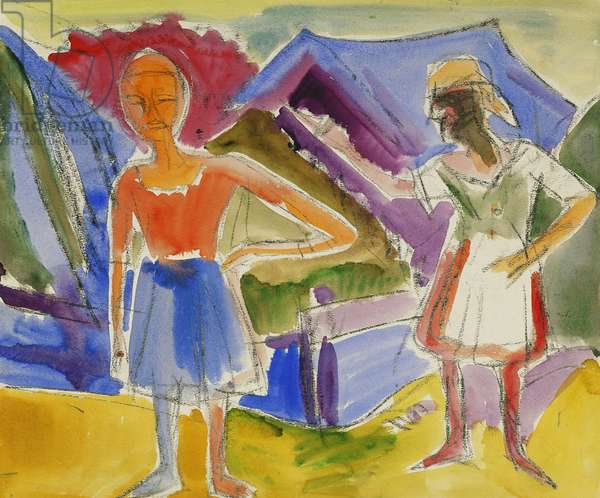 Two Figures; Zwei Gestalten, (watercolour over charcoal)