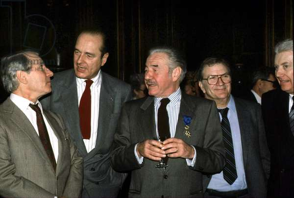 French Actor Jean-Pierre Darras Received Honour Distinction From The Hands of Jacques Chirac Mayor of Paris December 22, 1988, here With Jean Poiret and Pierre Mondy (photo)