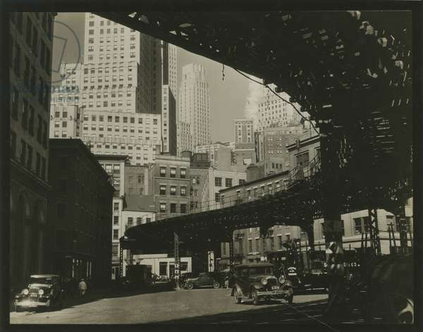 Elevated train, looking east on South Street, New York, USA, c.1920-38 (gelatin silver photo)