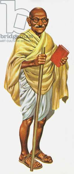Mahatma Gandhi (colour litho)