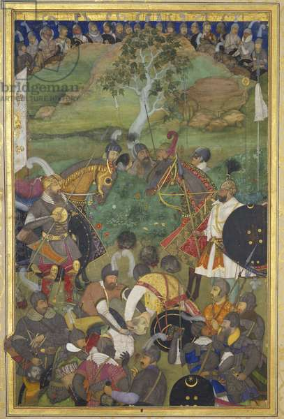 The Death of Khan Jahan Lodi on the 3rd February 1631, illustration from the 'Padshahnama', 1656-57 (ink, colours & gold on vellum)