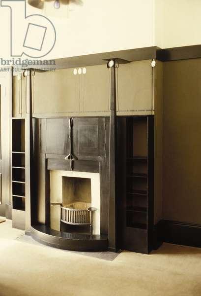 Black painted fireplace, c.1914-c.1928 (wood, metal)