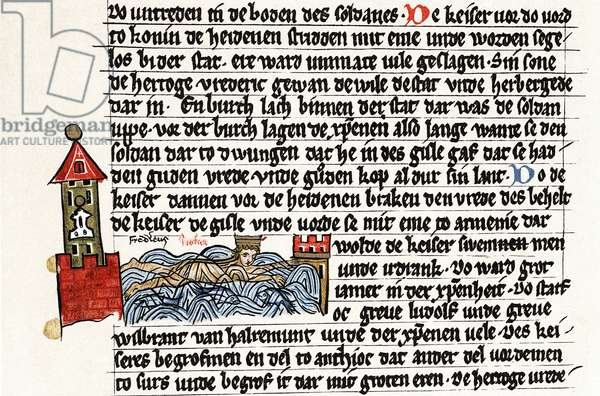 Frederick I (Barbarossa) c1123-1190 Holy Roman emperor from 1152. Death of Barbarossa who drowned trying to cross River Saleph in Cilicia. Gotha manuscript of the Saxon Chronicle, 2nd half of 13th century.