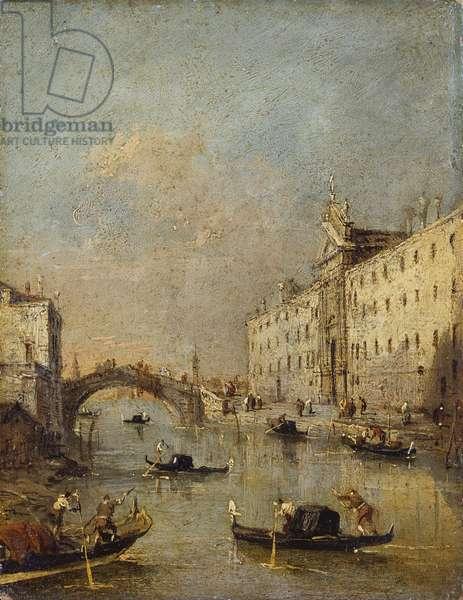 Venice or Rio dei Mendicanti, by Francesco Guardi, 1780 - 1799, 18th century, oil on canvas, 19.5 x 15 cm.