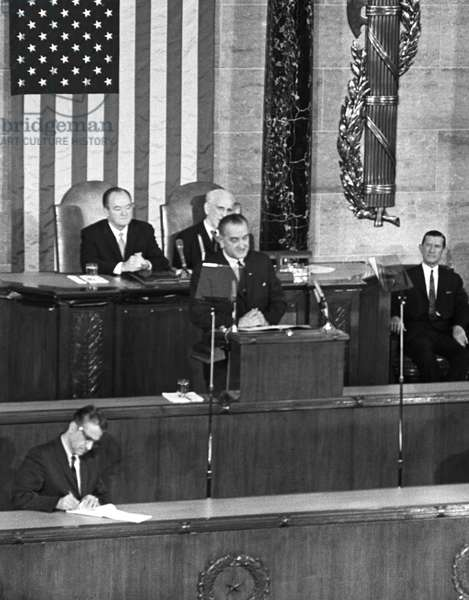 VOTING RIGHTS ACT, 1965 President Lyndon B. Johnson's special address toa Joint Session of Congress, urging the passage of the Voting Rights Act. Photograph by Cecil Stoughton, 3 March 1965.