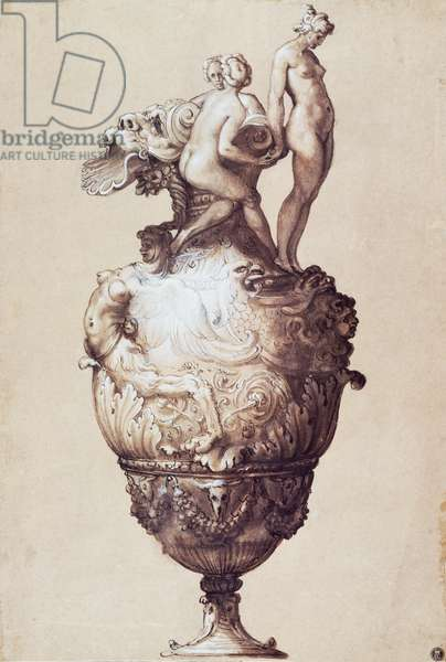 Study for pitcher, drawing by Cechino or Francesco Salviati (1510-1563), Italy, 16th century