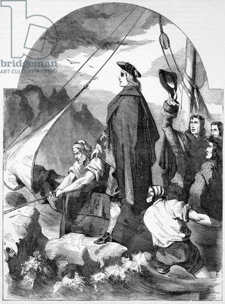 Landing of the Chevalier de St. George in Scotland, illustration from 'John Cassell's Illustrated History of England', published c.1858 (engraving)