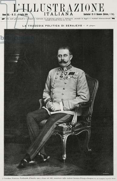 Portrait of Archduke Franz Ferdinand of Habsburg (1863-1914), from L'Illustrazione Italiana, Year XLI, No 27, July 5, 1914