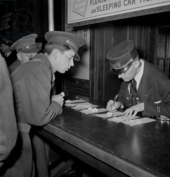 Soldier Checking Train Reservation, Union Station, Chicago, Illinois, USA, January 1943