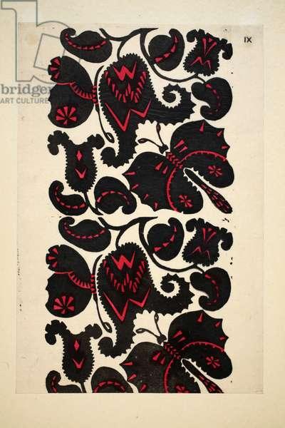 Design for wallpaper/textile, Plate 9 , Book 12, illustration from 'Wiener Werkstatte Mode 1914/15', pub. Eduard Kosmack, Vienna, 1914-1915 (hand-coloured linocut)