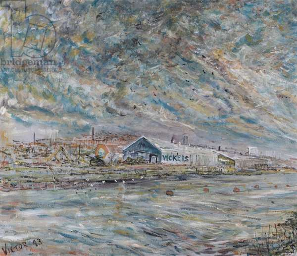 Vickers-Armstrong Factory, painted by a patient at Ryhope Mental Hospital and presented to Prof. McClelland on retirement from the Tyne and Wear Foundation, 1943 (oil on canvas)