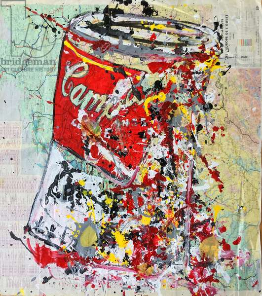 Soup Can Map Of Europe, 2018 (ink & acrylic paint and leaves on w/c paper)