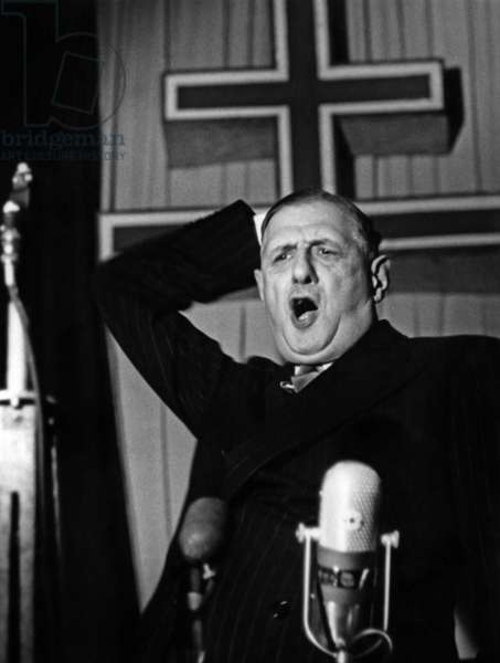French general Charles de Gaulle during a speech at meeting of RFP (Rally of the French People) december 4, 1954