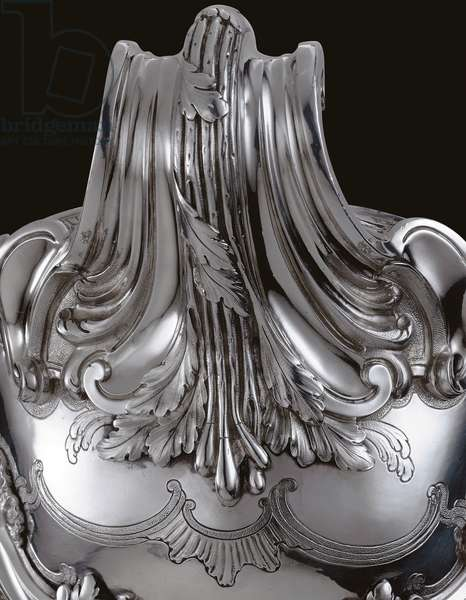 Detail of a Louis XV tureen, cover and liner, 1763 (silver) (see also 487643-5)