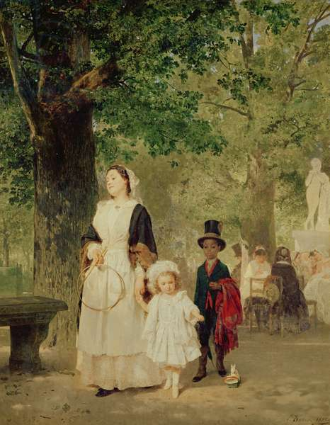 Promenade in the Tuileries Gardens, 1855 (oil on canvas)