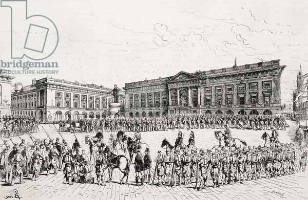Army in Louis XV square, strikes in Reims, France, engraving from L'Illustrazione Italiana, No 23, June 6, 1880