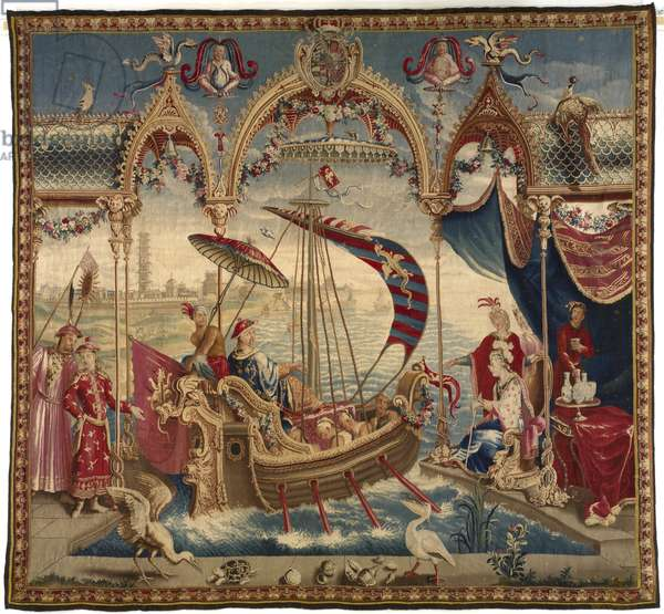 The Emperor Sailing, from The Story of the Emperor of China, 1716-22 (wool, silk, & silvered- & gilt-metal-strip-wrapped silk)