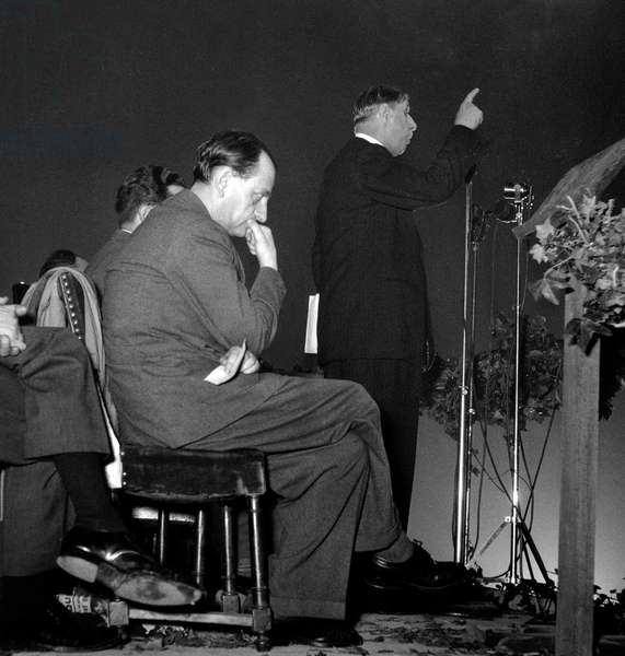 Speech of General Charles De Gaulle in Paris October 15, 1948 during Meeting of his Political Party Andre Malraux Sitting (b/w photo)