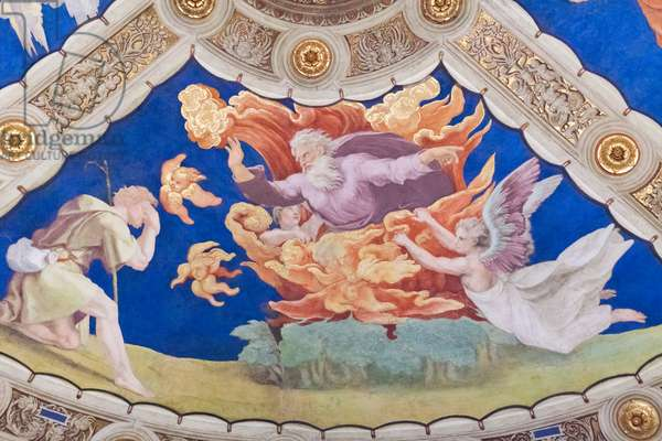 Moses before the burning bush, ceiling of the stanza di Eliodoro, room of Heliodorus