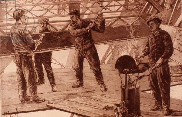 EIFFEL TOWER: RIVETERS 1889 Riveters at work assembling the Eiffel Tower at Paris in 1889.