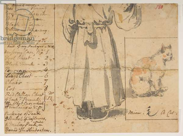 180 Cat, figure and list of Alexander's baggage., from an Album of 372 drawings of landscapes, coastlines, costumes and everyday life made during Lord Macartney's embassy to the Emperor of China, between 1792 and 1794 (pencil & w/c on paper)